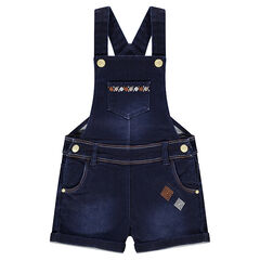 Short denim overalls with ethnic-style embroidered friezes
