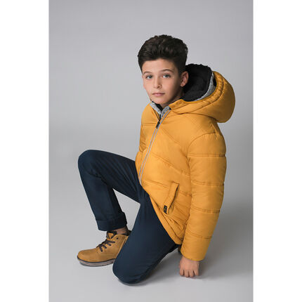 Junior - Hooded padded jacket with microfleece lining