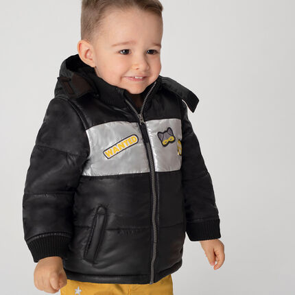 Microfleece-lined padded jacket with a removable hood