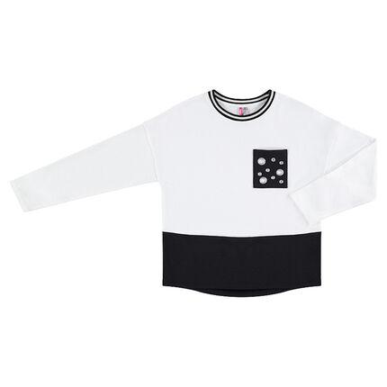Junior - Two-tone fleece sweatshirt featuring pockets with eyelets