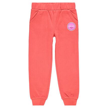 Fleece jogging pants with decorative print