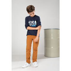 Slim fit twill pants with a removable belt