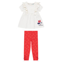 Short-sleeved tunic with ©Disney Minnie Mouse print and allover printed leggings