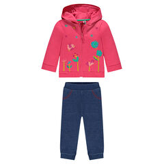Embroidered fleece sweatsuit ensemble