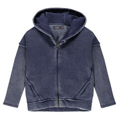 Zipped, fleece hooded jacket