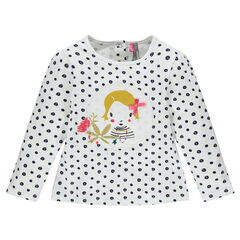 Long-sleeved tee-shirt with polka dots and patch