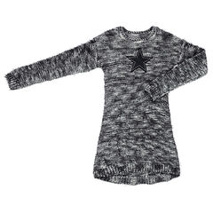 Junior - Long-sleeved mixed knit dress with star patch