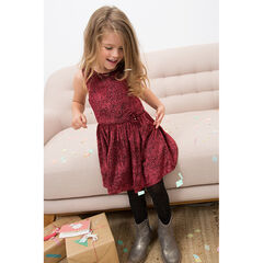 Sleeveless frilled dress with allover velvet polka dot effect