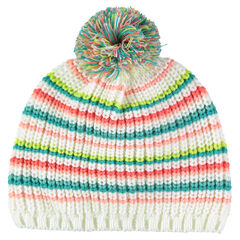 Microfleece lined striped knit hat
