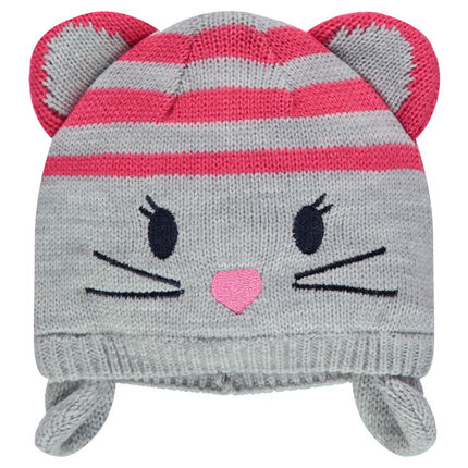 Peruvian-style knit hat with embroidered details and mouse ears