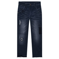 Junior - Used and crinkled-effect slim fit jeans with patches and tears