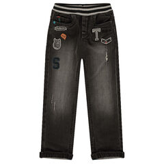 Fitted straight jeans with badge patches