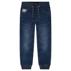 Used-effect jeans with elasticated waistband and ankles