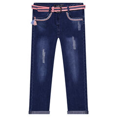 Used and crinkled-effect jeans with a removable belt and embroidery