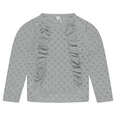 Openwork knit sweater with frills