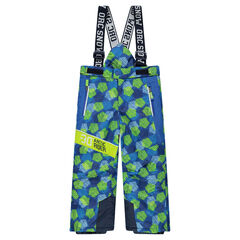 Ski pants with graphic allover print and removable suspenders