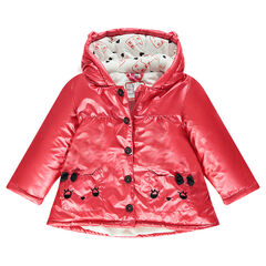 Pink parka with sherpa lining and cat-shaped pockets