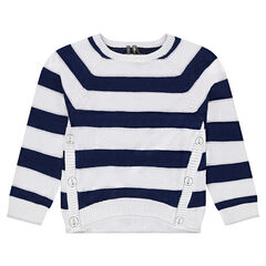 Striped knit sweater with asymmetrical seamed details