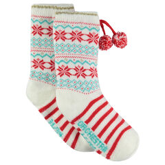 Non-slip Christmas socks with jacquard motif