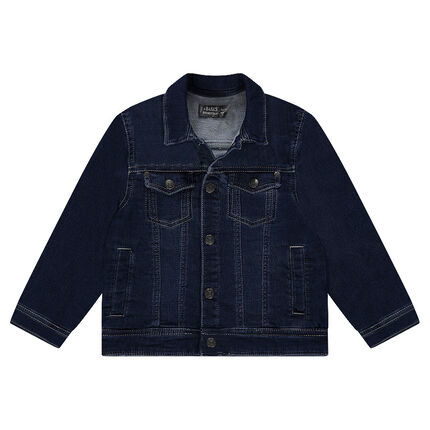 Worn denim-effect fleece jacket with pockets