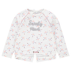 Fleece sweatshirt with French terry message and allover print