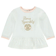 Long-sleeved jersey tunic with ©Smiley Baby print