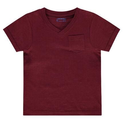 Short-sleeved, plain-colored slub tee-shirt with pocket.