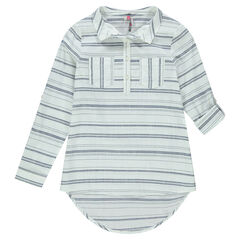 Junior - Long shirt with trendy stripes