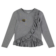 Long-sleeved jersey tee-shirt with ruffles and fancy badge