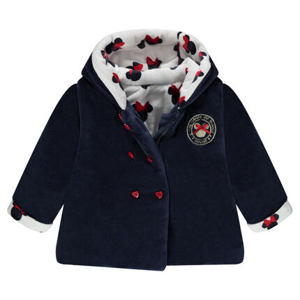 Sherpa-lined velvet jacket with Disney Minnie Mouse motif