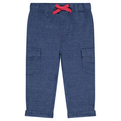 Pants in an original cotton fabric with elastic waistband and pockets