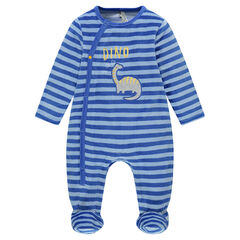 Striped velvet footed sleeper with dinosaur badge