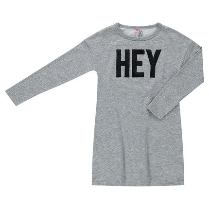 Junior - Long-sleeved heathered knit dress with a sherpa message