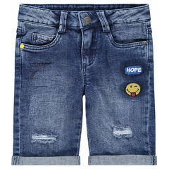 Denim bermuda shorts with used details and ©Smiley badges