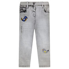 Slim fit jeans with bird patches