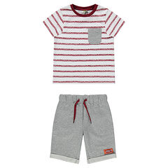 Striped tee-shirt and fleece bermuda shorts beach ensemble