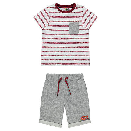Striped tee-shirt and fleece bermuda shorts beach ensemble