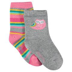 Set of 2 pairs of printed socks