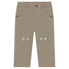Twill pants with printed eyes