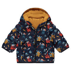 Reversible printed / plain-colored padded jacket with hood