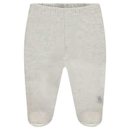 Jersey pants with closed feet and printed logo