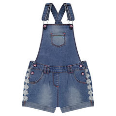 Used-effect short denim overalls with flowery braid trim