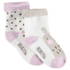 Set of 2 pairs of assorted socks with jacquard polka dots and animal