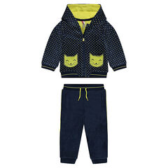 Polka-dotted velvet sweatsuit with cat-shaped pockets