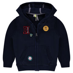 Bi-material fleece vest with patches