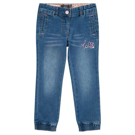 Denim style straight leg fleece jeans