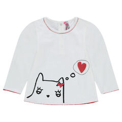 Long-sleeved slub jersey tee-shirt with printed cat