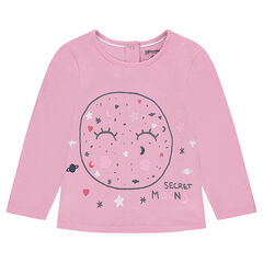 Long-sleeved jersey tee-shirt with a colorful print