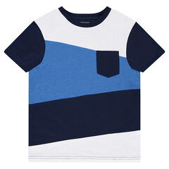 Tri-color short-sleeved t-shirt with pocket