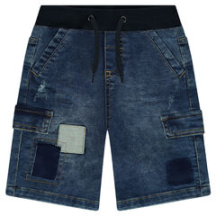Distressed Bermuda shorts with pockets and patches